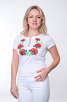 Женская вышитая футболка с маками !!!