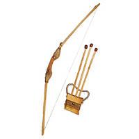 Деревянный лук. 171870у  Длинна лука 1м. В комплекте чехол для стрел и три стрелы. ТМ Дерево