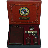 Подарочный набор Реальный пацан 4в1 Фляга,Зажигалка-пистолет,Лейка,Рюмки