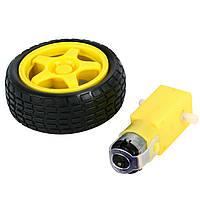 3-12в мотор с редуктором и колесом для робота микромоторчик dc привод