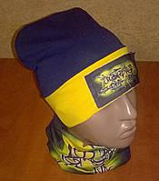 Демисезонный трикотажный комплект шапка+хомут