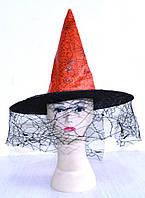 Шляпа ведьмы с вуалью (красная) 170216-372