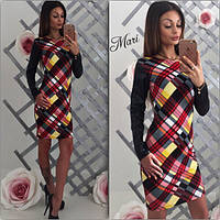 Короткое платье с кожаными рукавами