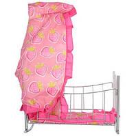 Кроватка 9349 для куклы,желез,,балдахин,подушка,сп.место 43см