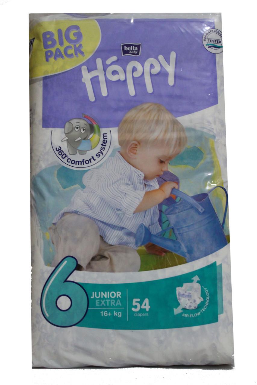 Подгузники Happy 6 ( 16 + кг) 54 шт