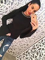 Женский стильный свитер с украшением и рукавами клеш (3 цвета)