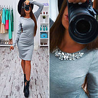 Красивое платье с дорогой фурнитурой серое