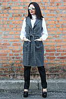 Жилет женский Ясмина крупная клетка, женский жилет-пальто, жилетка драповая, жилет полушерстяной, дропшиппинг