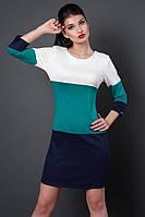 Трехцветное трикотажное платье, р 46,48