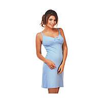 Ночная рубашка на бретельках для беременных и кормящих мам голубая
