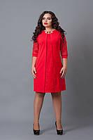 Оригинальное платье с гипюром красного цвета, р 48,50,52,54,56
