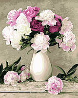 Картина-раскраска Пионы в белой вазе (BK-GX9737) 40 х 50 см