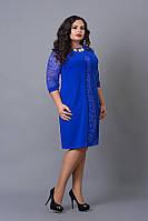 Стильно платье больших размеров цвета индиго, р 48,50,52,54,56