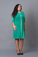 Эффектное платье батал бирюзового цвета, р 48,50,52,54,56