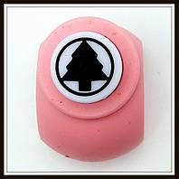 Дырокол фигурный Елка  в круге кнопка 1,8 см
