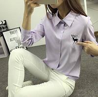 """Женская сиреневая рубашка с принтом """"Олень"""""""
