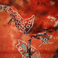 Палантин батик оранжевый индиго хлопок