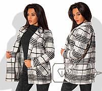 Модное женское короткое пальто (пальтовая ткань с ворсом, модная клетка) РАЗНЫЕ ЦВЕТА!