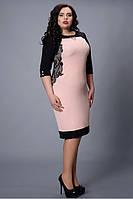Шикарное вечернее платье в розовом цвете в сочетании черных кружевных вставок
