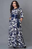 Длинное женское платье  с абстрактным рисунком пояс воротник и манжеты из эко-кожи