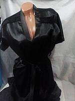 Женский черный атласный комплект халат