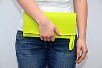 Модный клатч ручная сумочка клатчик эко-кожа с ремешком салатовый