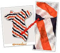 Туника тельняшка асимметричная футболка в полоску оранжевая