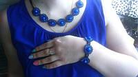 """Комплект намисто і браслет """"Сині очі"""" (Комплект ожерелье и браслет """"Синие глаза"""") AN-0053"""