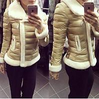 Короткая женская куртка с мехом мутон