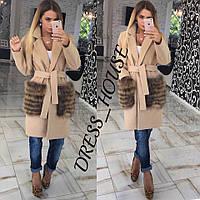Кашемировое пальто с меховыми карманами