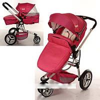Детская коляска универсальная трансформер Bambi 809-3 красно-бежевая