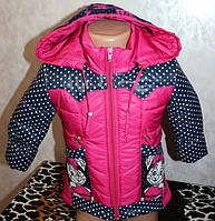 Детская куртка на девочку с вязанными вставками 1-2,2-3 года.