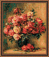 """Набор для вышивания крестом «""""Букет роз"""" по мотивам картины О. Ренуара » (1402)"""