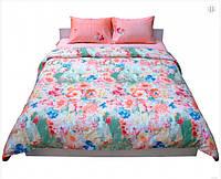 Комплект постельного белья сатин евро цветы персиковый