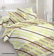 Комплект постельного белья сатин полуторный полоска салатовый с коричневым