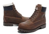 Ботинки Classic Timberland 6 inch Brown Winter Fur High Quality - 2390