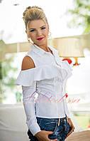 Нарядная Блузка с воланом и открытыми плечами белая