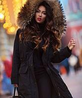 Молодежная женская куртка парка мех енот с  капюшоном