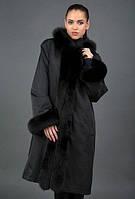 Удлиненная  зимняя женская куртка  мех песец