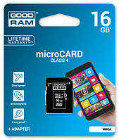 Карта памяти GOODRAM microSDHC 16GB Class 4 + adapter
