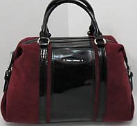 Шикарная бордовая сумка из натурального замша и кожи от  Velina Fabbiano