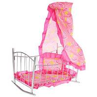 Кроватка для кукол 9349 качалка металлическая