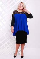 Женское платье батал Нимфа Lenida черный+электрик 50-58 размеры