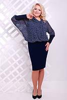 Женское платье батал Браво Lenida  синий+белый  50-58 размеры