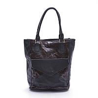 Качественная женская сумка черная с коричневым из искусственной кожи