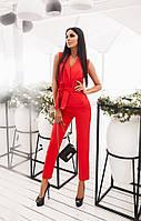 Женский красный деловой костюм с пояском (жилетка+ брюки на молнии с кармашками). Арт-1664/25