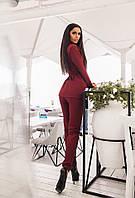 Женский бордовый деловой костюм с пояском (пиджак+ брюки с кармашками). Арт-1665/25