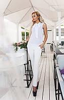 Модные женские белые брюки на змейке с карманами. АРТ-1674/25