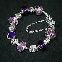 Женский серебряный браслет Pandora с подвесками с цепочкой