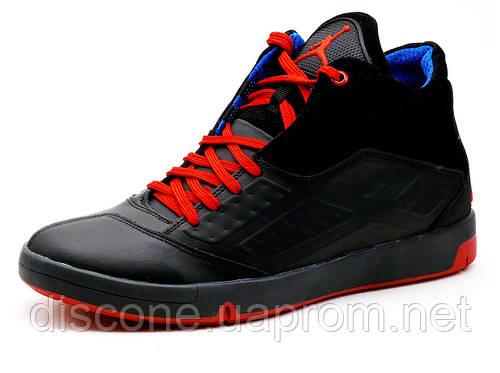 Кроссовки высокие Jordan, мужские, кожаные, черные  с красным, р. 42 45